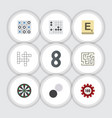 flat icon games set of poker gomoku mahjong and vector image