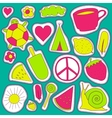hippie embroidery neon palette summer patches vector image