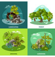 landscape gardening 4 flat icons concept vector image