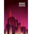 Purple city skyline at night Graphical urban vector image