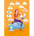 Cloud Computing Woman With Laptop vector image vector image