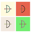 bow and arrow icon in flat style collection vector image