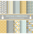 Christmas Retro Set - 10 seamless patterns vector image