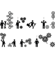 Pictogram people with gear wheels vector image vector image