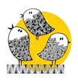 Set of cute doodle birds on the sunny background vector image
