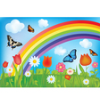 with butterflies rainbows and flowers vector image vector image