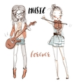 beautiful girls with the musical instruments vector image