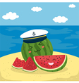 Captain Watermelon at the Beach vector image