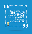 Inspirational motivational quote From what we get vector image