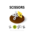 Scissors icon in different style vector image