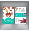 Sketch style seafood restaurant cafe menu design vector image