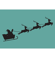 Santa claus with reindeer sleigh in silhouette vector image