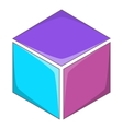 Colorful cube icon cartoon style vector image