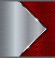 red metal perforated background with perforation vector image