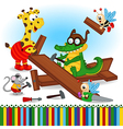animals build wooden plane vector image vector image