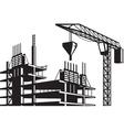 Crane poured concrete construction vector image vector image