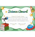 Certificate with science objects in background vector image