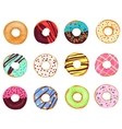 Set of cartoon realistic donuts cakes isolated on vector image vector image