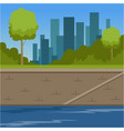 city buildings and river bank urban cityscape vector image