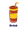 Fastfood cup with lid and straw vector image