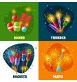 firework crackers rockets 4 icons square vector image