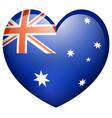 Flag on australia in heart shape vector image