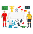 football icons set of soccer sport game vector image