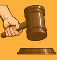 Hand Knocking Gavel vector image