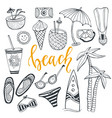 icon set summer beach holidays with surfboard vector image