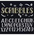 Funny scribbles alphabet vector image
