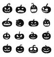 Halloween pumpkins icons vector image