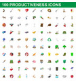 100 productiveness icons set cartoon style vector image