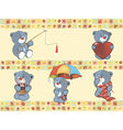 Set of small bears on wallpaper vector image
