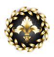Gold Fleur De Lis with Laurel Wreath vector image