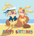 birthdaycardrabbit vector image
