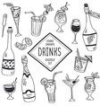 Doodle drinks vector image
