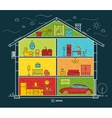 Flat big house silhouette night vector image vector image