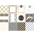 Card set template with seamless patterns in gold vector image