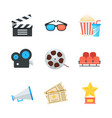 cinema icons set in flat style vector image
