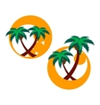 two icons with palm trees vector image