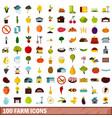 100 farm icons set flat style vector image