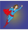 Super hero woman flying poster in comic vector image