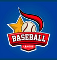 baseball league logo design with leather ball and vector image