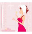 Cute woman applying moisturizer vector image