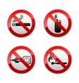 set prohibited signs - flames vector image