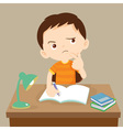 cute boy thinking working on homework vector image