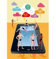 Digital Tablet As Swimming Pool Orange vector image