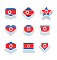 korea north flags icons and button set nine styles vector image