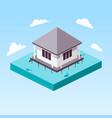 overwater bungalow in ocean isometric vector image