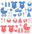 set of baby boy and girl elements icons vector image